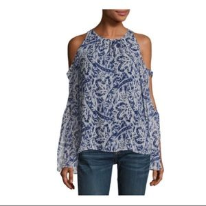 NWT RAMY BROOK Norma Cold-Shoulder Silk Blouse S